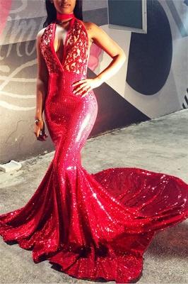 Amazing Backless Deep Alluring V-neck Appliques Sleeveless Elegant Mermaid Prom Dress UKes UK UK_1