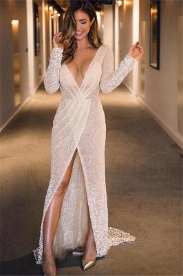 Chic Deep V-Neck with Sleeves Front Slit A-Line Long Prom Dress UKes UK UK_1