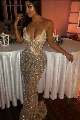 Sexy Strapless Sleeveless Beads Sequins Evening Gowns | Mermaid Prom Dresses UK_1