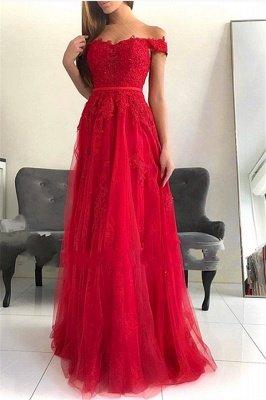 Stunning Off-the-Shoulder Appliques Tulle A-Line Long Prom Dress UKes UK UK_1