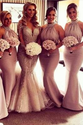 Timeless Halter Elegant Mermaid Bridesmaid Dress UKes UK | Elegant Ruched Long Wedding Party Dress UKes UK_2