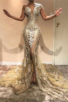Gorgeous A-Line One Shoulder Beading Appliques Front Slit Prom Dress UKes UK UK_1