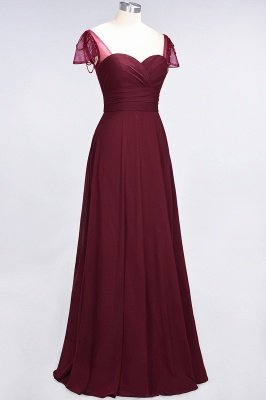 A-Line Chiffon Sweetheart Cap-Sleeves Ruffle Long Bridesmaid Dress UK with Beadings_4