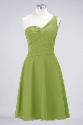 Sexy A-line Flowy One-Shoulder Sweetheart Sleeveless Short length Bridesmaid Dress UK UK with Ruffles_32