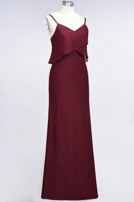 A-Line Chiffon Spaghetti-Straps V-Neck Sleeveless Long Bridesmaid Dress UK_4