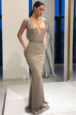 Stunning Deep V-Neck Sleeveless Lace-up Elegant Mermaid Long Prom Dress UKes UK UK_5