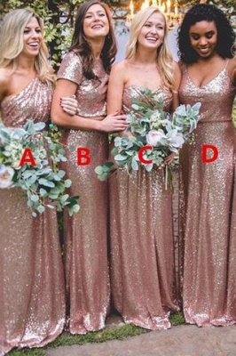 Elegant Sequin Bridesmaid Dress UKes UK | Rose Gold Long Wedding Guest Dress UKes UK_1