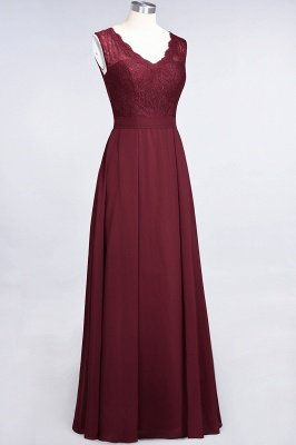 A-Line Chiffon Lace V-Neck Sleeveless Long Bridesmaid Dress UK_4