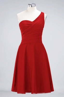 Sexy A-line Flowy One-Shoulder Sweetheart Sleeveless Short length Bridesmaid Dress UK UK with Ruffles_8