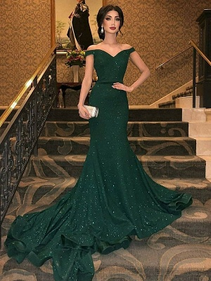 Dark Green Off-The-Shoulder Sequined Elegant Mermaid Sleeveless Sweep Train Prom Dress UKes UK UK_1