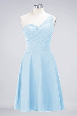 Sexy A-line Flowy One-Shoulder Sweetheart Sleeveless Short length Bridesmaid Dress UK UK with Ruffles_22