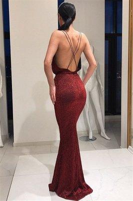 Stunning Deep V-Neck Sleeveless Lace-up Elegant Mermaid Long Prom Dress UKes UK UK_3