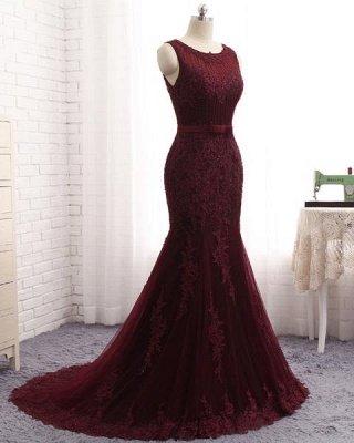 Sexy Scoop Sleeveless Tulle Elegant Mermaid Appliques Sequins Zipper Prom Dress UKes UK UK_3