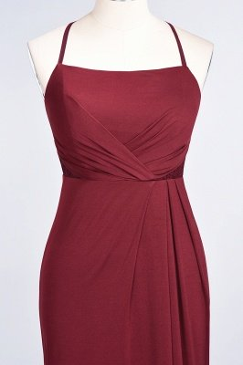 Elegant Mermaid spandex Lace Spaghetti-Straps Sleeveless Long Bridesmaid Dress UK with Ruffle_34