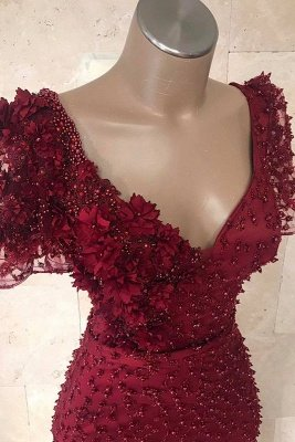 Gorgeous V-Neck Short Sleeves Beading Flower Elegant Mermaid Long Prom Dress UKes UK UK_3