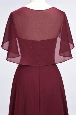 A-Line Chiffon Satin V-Neck short-sleeves Long Bridesmaid Dress UK_6