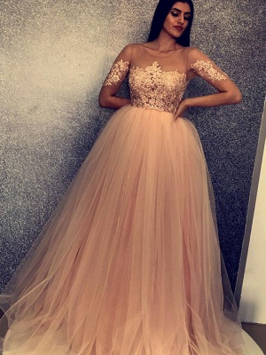 Chic Scoop Short Sleeves Appliques Tulle A-Line Long Prom Dress UKes UK UK_3