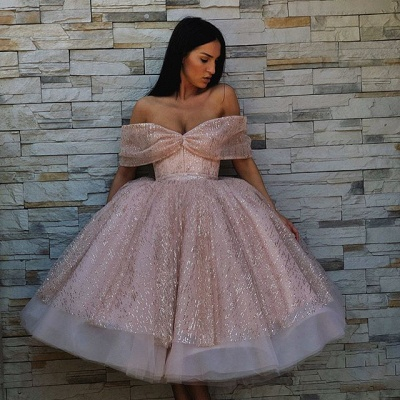 Chic Off-the-Shoulder Ball Gown Tulle Tea-Length Prom Dress UKes UK UK_3
