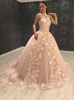 Chic Halter Sleeveless Tulle Appliques Ball Gown Prom Dress UKes UK UK_3