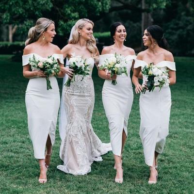 Off The Shoulder Elegant Bridesmaid Dress UKes UK   Front Slit Affordable White Maid of Honor Dress UK_3