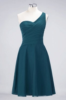 Sexy A-line Flowy One-Shoulder Sweetheart Sleeveless Short length Bridesmaid Dress UK UK with Ruffles_26