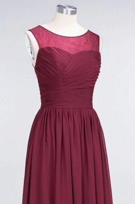 A-Line Chiffon Tulle Lace Scoop Sleeveless Long Bridesmaid Dress UK with Ruffle_5