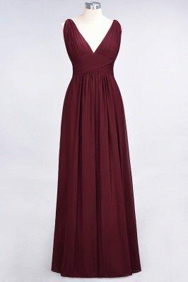 A-Line Chiffon V-Neck Sleeveless Long Bridesmaid Dress UK with Ruffle_2