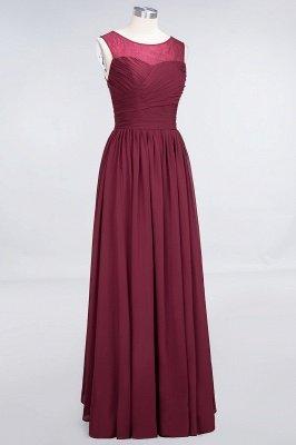 A-Line Chiffon Tulle Lace Scoop Sleeveless Long Bridesmaid Dress UK with Ruffle_3