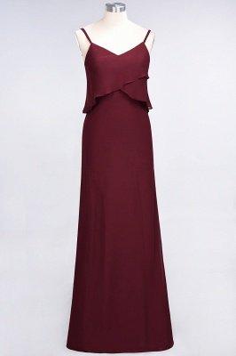 A-Line Chiffon Spaghetti-Straps V-Neck Sleeveless Long Bridesmaid Dress UK_2