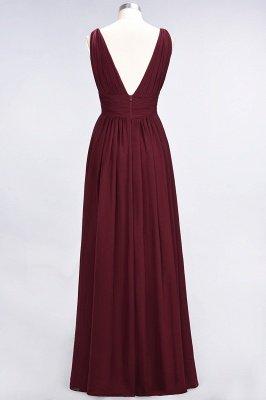 A-Line Chiffon V-Neck Sleeveless Long Bridesmaid Dress UK with Ruffle_3