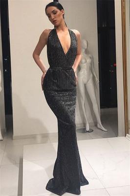 Stunning Deep V-Neck Sleeveless Lace-up Elegant Mermaid Long Prom Dress UKes UK UK_6