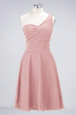 Sexy A-line Flowy One-Shoulder Sweetheart Sleeveless Short length Bridesmaid Dress UK UK with Ruffles_6