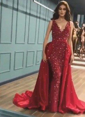 Sparkle Elegant Mermaid V-Neck Crystals Prom Dress UKes UK UK with Overskirt_3