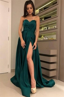 Chic Strapless Front Split Sleeveless Floor-Length Sexy A-line Prom Dress UKes UK UK_1