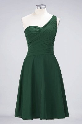 Sexy A-line Flowy One-Shoulder Sweetheart Sleeveless Short length Bridesmaid Dress UK UK with Ruffles_30