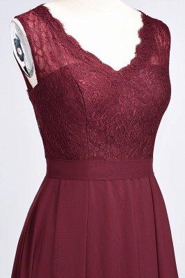 A-Line Chiffon Lace V-Neck Sleeveless Long Bridesmaid Dress UK_6