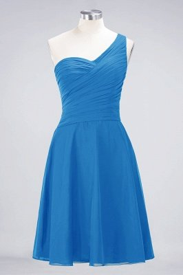 Sexy A-line Flowy One-Shoulder Sweetheart Sleeveless Short length Bridesmaid Dress UK UK with Ruffles_24