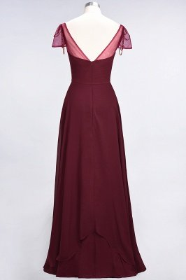 A-Line Chiffon Sweetheart Cap-Sleeves Ruffle Long Bridesmaid Dress UK with Beadings_3