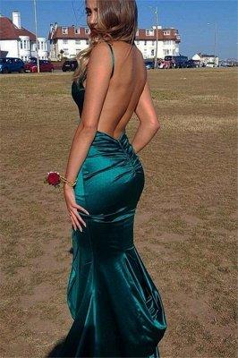 Gorgeous Spaghetti Straps V-Neck Backless Sleeveless Elegant Mermaid Long Prom Dress UKes UK UK_3