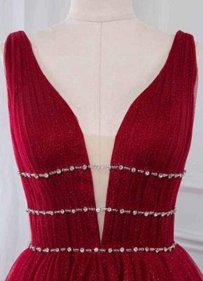 Stylish Deep Alluring V-neck Sleeveless Tulle Sexy A-line Rhinestones Prom Dress UKes UK UK_4