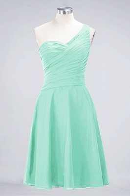 Sexy A-line Flowy One-Shoulder Sweetheart Sleeveless Short length Bridesmaid Dress UK UK with Ruffles_34