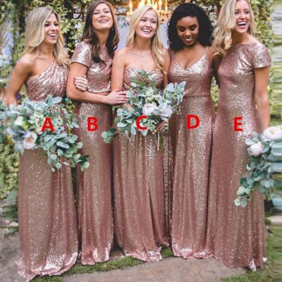Elegant Sequin Bridesmaid Dress UKes UK | Rose Gold Long Wedding Guest Dress UKes UK_4