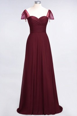 A-Line Chiffon Sweetheart Cap-Sleeves Ruffle Long Bridesmaid Dress UK with Beadings_2