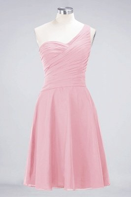 Sexy A-line Flowy One-Shoulder Sweetheart Sleeveless Short length Bridesmaid Dress UK UK with Ruffles_4