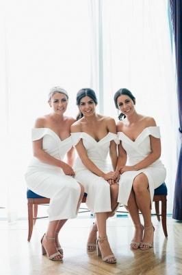 Off The Shoulder Elegant Bridesmaid Dress UKes UK   Front Slit Affordable White Maid of Honor Dress UK_1
