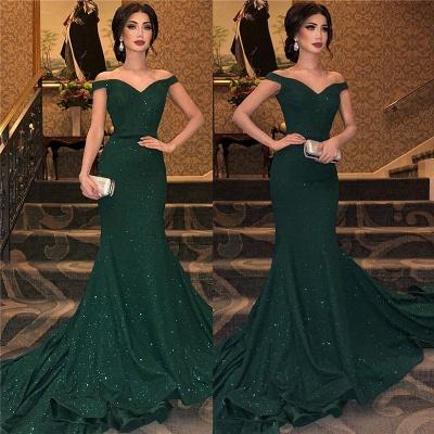 Dark Green Off-The-Shoulder Sequined Elegant Mermaid Sleeveless Sweep Train Prom Dress UKes UK UK_3