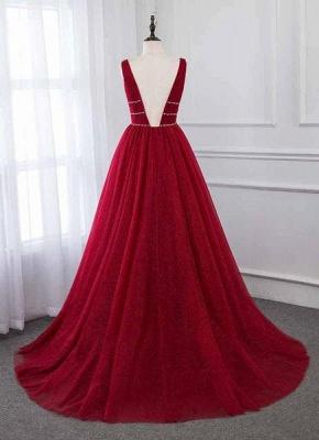 Stylish Deep Alluring V-neck Sleeveless Tulle Sexy A-line Rhinestones Prom Dress UKes UK UK_3