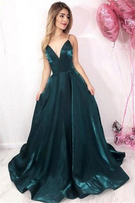 Chic V-Neck Spaghetti Straps A-Line Sleeveless Long Prom Dress UKes UK UK_1