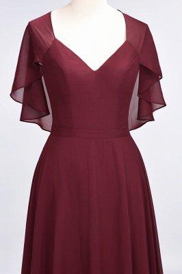A-Line Chiffon Satin V-Neck short-sleeves Long Bridesmaid Dress UK_5