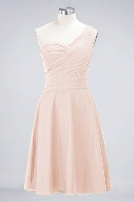 Sexy A-line Flowy One-Shoulder Sweetheart Sleeveless Short length Bridesmaid Dress UK UK with Ruffles_5